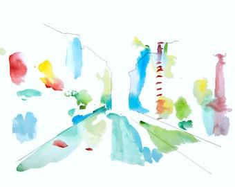 minimalist watercolor print: City Street With Light Rain