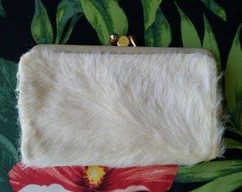 Vintage Wallet 1960s Wallet 60s Wallet Faux Fur Wallet Cream Wallet Mod Wallet Mid Century Wallet Movie Prop 1960s Prop