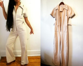 VTG 70s Coverall 70s Jumpsuit 70s Coveralls Overalls Painter Coveralls Playsuit One Piece Romper Cotton Coveralls Work Suit Bell Bottoms Sm