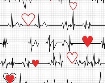 Windham - Calling all Nurses - Heart Beat - White - Fabric by the Yard 37302-2