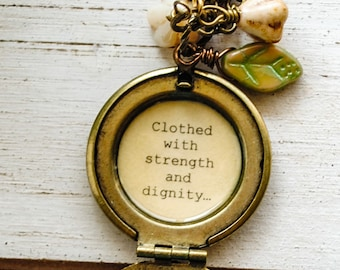 Proverb 31 Women's Locket - clothed with strength and dignity - Faith Jewelry, Bible Quote Necklace, Christian Necklace, Mentor, Mother