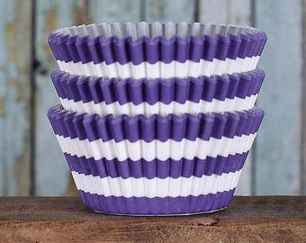 Purple Stripe Cupcake Liners, BakeBright Cupcake Liners, Purple Cupcake Liners, Baking Cups, Cupcake Cases, Cupcake Wrappers (50)