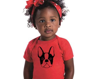 Boston Terrier Baby Clothing, Infant Clothes, Baby Bodysuit, Cotton Onepiece Shirt, Baby Top, Gift for Dog Lover, New Baby Announcement Dogs