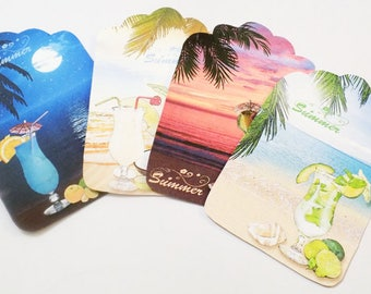 Tropical Drinks - Gift Tags - Set of 4 - Vacation Tags - Exotic Drink Tags -  Bachelorette Tags -  Party Tags - Moonlight Tag - Sunset Tag