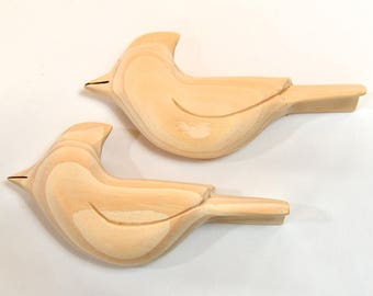 Unfinished Wood Wooden Birds Craft Supply, Unfinished Ornaments Cardinal Wood Carving, Wood Sculpture, Woodworking, Adult Craft
