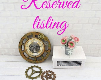 Reserved listing - Steampunk barometer on wooden wheel and pink ranunculus in vase in 1:12 scale