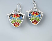Ivy Woodrose sterling silver, PMC, and resin enamel earrings