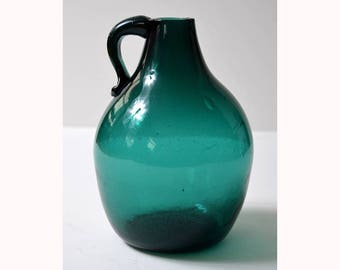 Clevenger Brothers teal seed glass camphor jug New Jersey