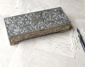 White Leather Book in Silver Box - Keepsake Book