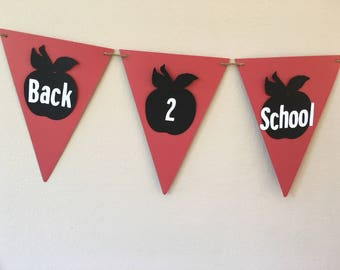 Back 2 School Apple Pennant Flag Classroom Decor Garland Paper Flag Bunting Bulletin Board Decor First 1st Day of School READY to SHIP