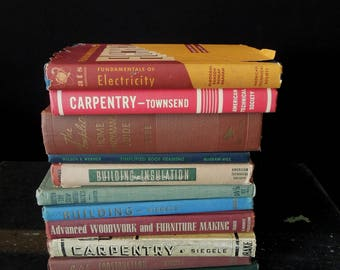 Handyman Carpenter Electrician Vintage  Eleven Books - DIY Vintage Book Stack - Bookshelf Decoration Man Cave