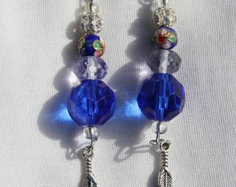 Beaded Dangle Earrings - Sparkly Royal Blue and Diamond Beads with Hanging Silver Feather Trinkets