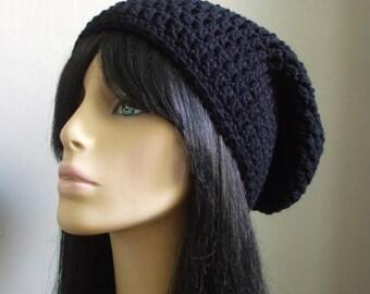 Super Slacker Crochet Slouchy Beanie Hat Men Women Rocker Slouchy Beanie Hat Handmade on Etsy BLACK Ready to Ship