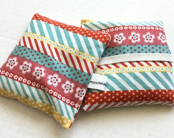 Hand Warmer Rice Bag - Red and Teal Stripe and Floral - Lavender Scented