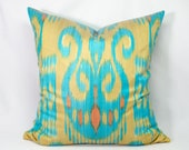 19x19 blue cream ikat pillow cover, blue pillows, blue cream pillows, ikat pillows, blue, pillows, cushions, cover, case