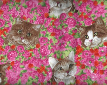 "CAT FACES on Flowered Flannel Fabric - One yard x 42"" wide -"