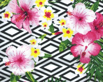 """TROPICAL FLOWERS Flannel Fabric, 1 yard x 42"""" inches wide.  Brand new."""
