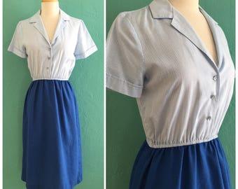 vintage blue striped shirt dress ~ small medium