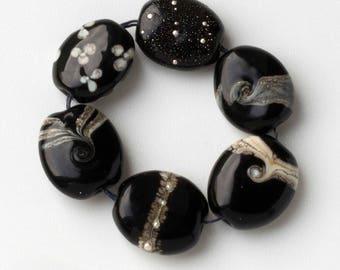 black lampwork beads sra handmade glass beads
