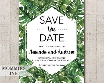 Tropical Save the Date, Banana Leaf Invitation, Palm Leaf Invitation, Tropical Leaves Invitation, Tropical Palm Invitation, Wedding Invite