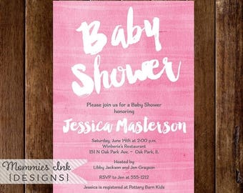 20% OFF SALE Pink Watercolor Baby Shower Invitation, Shower Invite, Shower Invitation, Pink Watercolor Invitation, Watercolor Texture Invite
