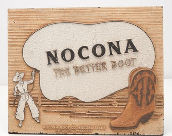 Vintage 1930's Nocona Cowboy Boots Western Advertising Table Top Fiberboard Sign Display 10.5 X 8.5 inches