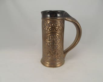 Celtic Beer Stein with Carved Knot Work Designs, Metallic Bronze Glaze, Weddings, Gifts, Costuming, Bar Drinkware, Tableware, Coffee/Tea Mug