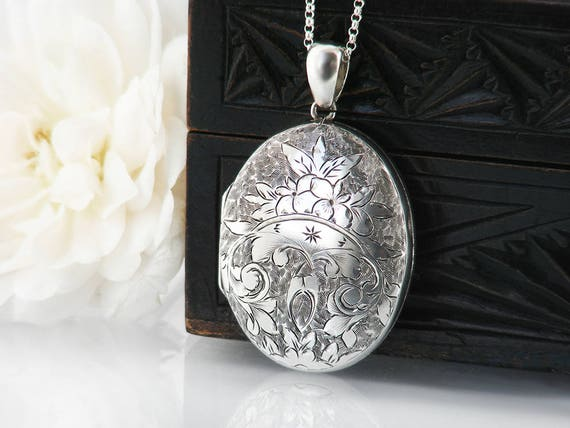 Victorian Locket | 1882 Antique Locket | Sterling Silver English Hallmarks | Locket Necklace, Ivy Leaves - 24 Inch Sterling Silver Chain