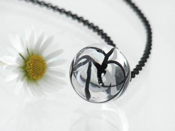 Victorian Drop Pendant | Unique Black & White Glass 'Charm String' Necklace, Antique Glass Charm String Button Pendant - 24 Inch Black Chain