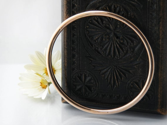 1920s Upper Arm Bangle | Antique Rose Gold Bracelet | 9ct Gold Over Sterling Silver Bangle - Extra Large Bangle - Great for a Larger Hand