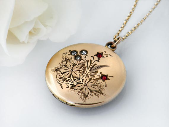 Antique Locket | Satin Polish Gold Victorian Locket Necklace | Rhinestone Floral Spray Design, Atrice Bee Stamp Photo Locket - 20 Inch Chain
