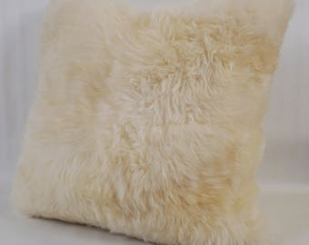 Brazilian Sheepskin Fur Pillow - Large 20 x 20 Square - DOUBLE SIDED In Fur - Solid Natural White - Throw Accent Pillow