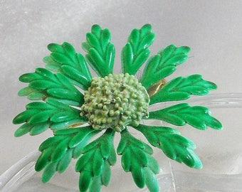 SALE Vintage Bright Green Flower Brooch. 70s Flower Power Enamel Green Flower Pin.