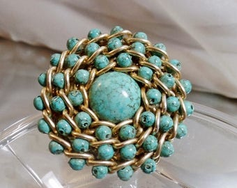SALE Vintage Turquoise Chain Brooch. Gold Tone Chain and Faux Turquoise Beads Pin.
