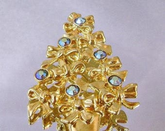 SALE Vintage Christmas Tree Brooch Avon.  Gold Bows and Aurora Borealis AB Rhinestones