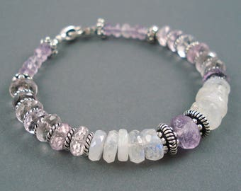 Amethyst and Moonstone Bracelet, Light Lilac Colored Amethyst, Moonstone and Sterling Silver Beads