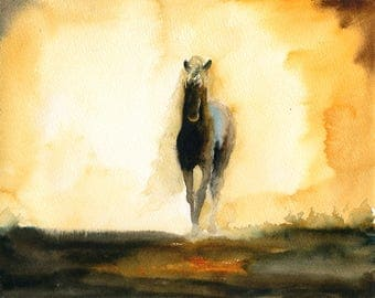 Horse Original watercolor painting 10x8inch