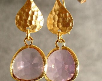 30% OFF SALE Lavender Glass Hammered Gold Bridesmaid Earrings, Wedding Earrings, Gold Earrings  (1510)