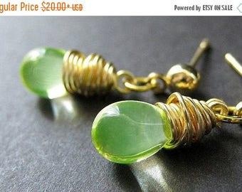 SUMMER SALE Lemon Lime Wire Wrapped Teardrop Earrings in Gold and Stud Earring Backs. Handmade Jewelry by Gilliauna