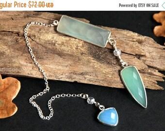 SUMMER SALE Aqua Blue Chalcedony Pendulum. Gemstone Pendulum. Sea Foam Green Chalcedony Pendulum. Sterling Silver Pendulum. Spirituality Too