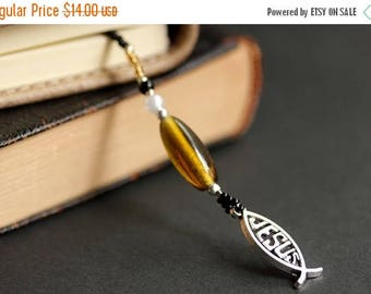 BACK to SCHOOL SALE Jesus Fish Bookmark. Beaded Bookmark. Jesus Bookmark. Amber Bookmark. Beaded Book Thong. Bible Book Charm. Christian Jes