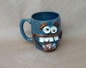NEW Funny Dieters Face Mug. Keto Diet Coffee Cup Mugs. Nelson Studio Stoneware Pottery. Big 20 Handmade Ug Chug Mug. Blue Clay Pottery Clay