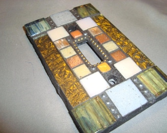 MOSAIC Light Switch Plate -  Single Switch, Wall Art, Wall Plate, Gold Van Gogh Glass