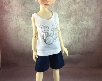 Drum Set tank top and board shorts for Maurice by Kaye Wiggs MSD BJD Boys