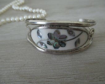 Vintage Mother of Pearl Bracelet Silver