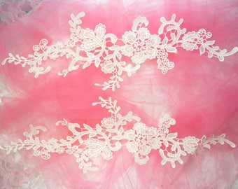 """Embroidered Lace Appliques White Floral Venice Lace Mirror Pair 13"""" (DH88X-wh)"""