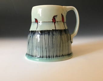 Birds a wire and Pinstripes Mug