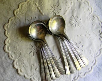 Vintage Silver Spoons, Soup Spoons Lot of 10 Silver Plated Soup, Bullion Spoons, Round Bowl Spoons Crafts, Jewelry, Stamping, Spoon Jewelry