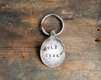 """Spoon Keychain, Key Ring, Stamped Spoon Key Chain, """"Old Soul"""" Key Ring, Silver SPoon Key Chain Repurposed Silverware, Spoon Crafts, Vintage"""
