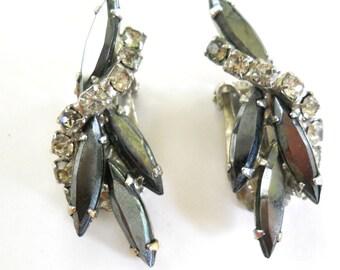 Vintage Rhinestone Earrings • Clip On Earrings • Black White and Silver